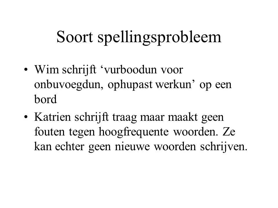 Soort spellingsprobleem Wim schrijft 'vurboodun voor onbuvoegdun, ophupast werkun' op een bord Katrien schrijft traag maar maakt geen fouten tegen hoo