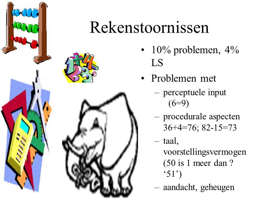 10% problemen, 4% LS Problemen met –perceptuele input (6=9) –procedurale aspecten 36+4=76; 82-15=73 –taal, voorstellingsvermogen (50 is 1 meer dan ? '