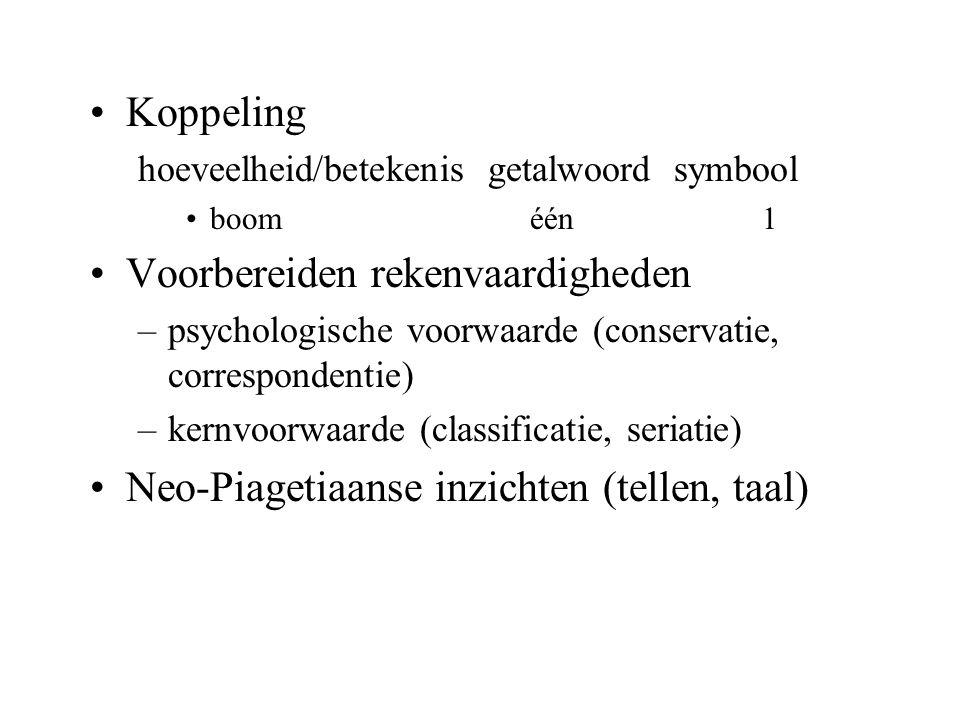 Koppeling hoeveelheid/betekenis getalwoord symbool boom één1 Voorbereiden rekenvaardigheden –psychologische voorwaarde (conservatie, correspondentie)