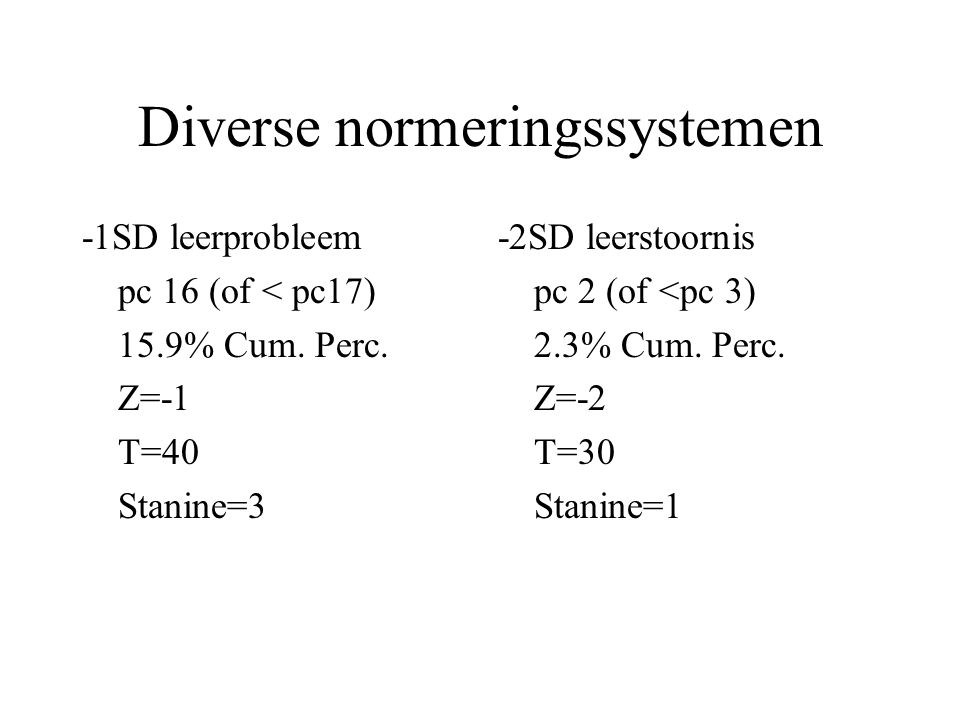Diverse normeringssystemen -1SD leerprobleem pc 16 (of < pc17) 15.9% Cum. Perc. Z=-1 T=40 Stanine=3 -2SD leerstoornis pc 2 (of <pc 3) 2.3% Cum. Perc.