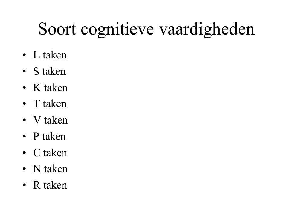 Soort cognitieve vaardigheden L taken S taken K taken T taken V taken P taken C taken N taken R taken