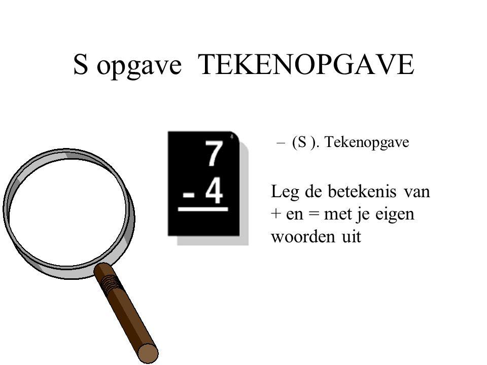 S opgave TEKENOPGAVE –(S ). Tekenopgave Leg de betekenis van + en = met je eigen woorden uit
