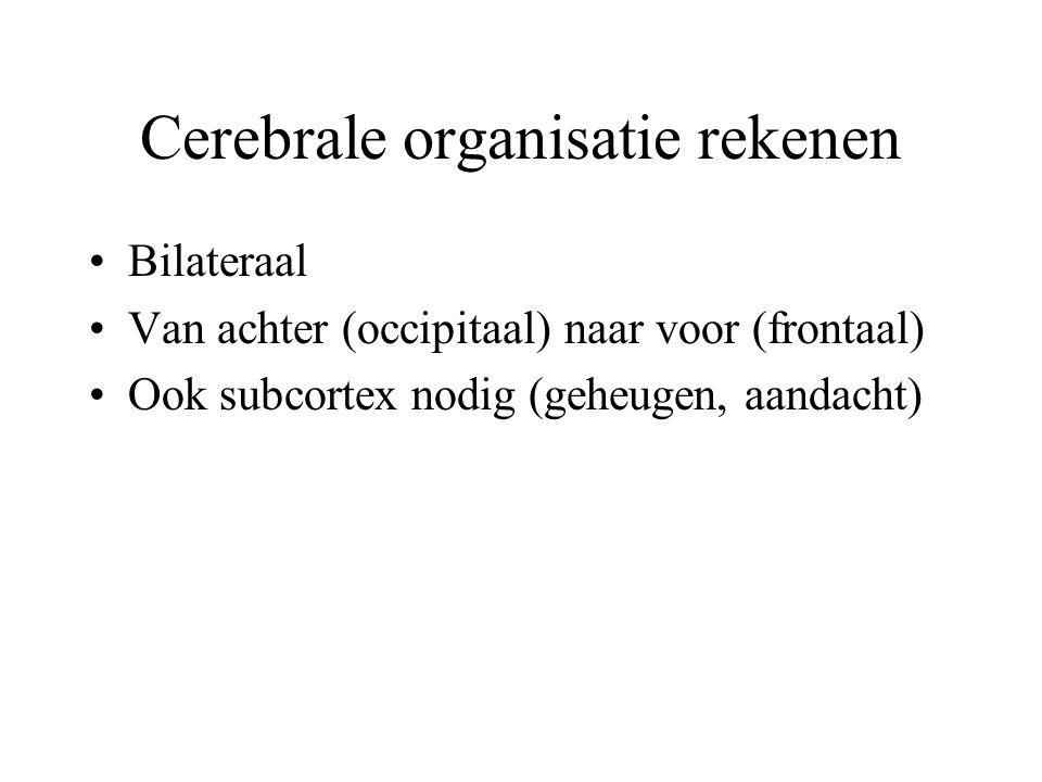 Cerebrale organisatie rekenen Bilateraal Van achter (occipitaal) naar voor (frontaal) Ook subcortex nodig (geheugen, aandacht)