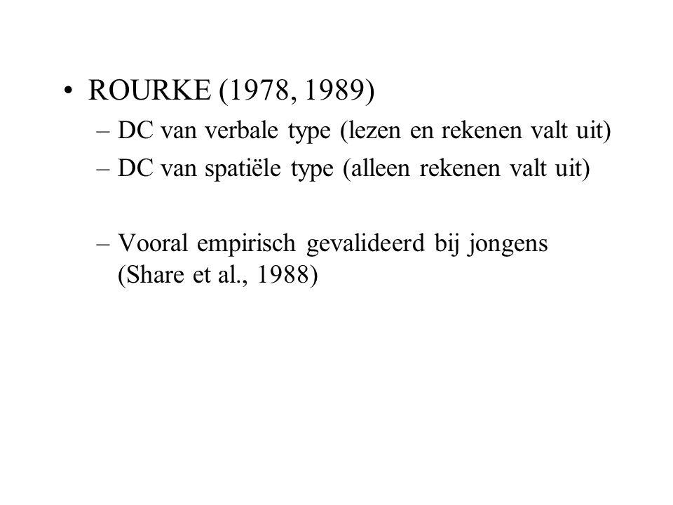 ROURKE (1978, 1989) –DC van verbale type (lezen en rekenen valt uit) –DC van spatiële type (alleen rekenen valt uit) –Vooral empirisch gevalideerd bij