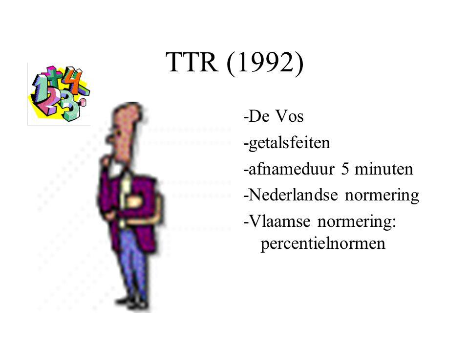 TTR (1992) -De Vos -getalsfeiten -afnameduur 5 minuten -Nederlandse normering -Vlaamse normering: percentielnormen