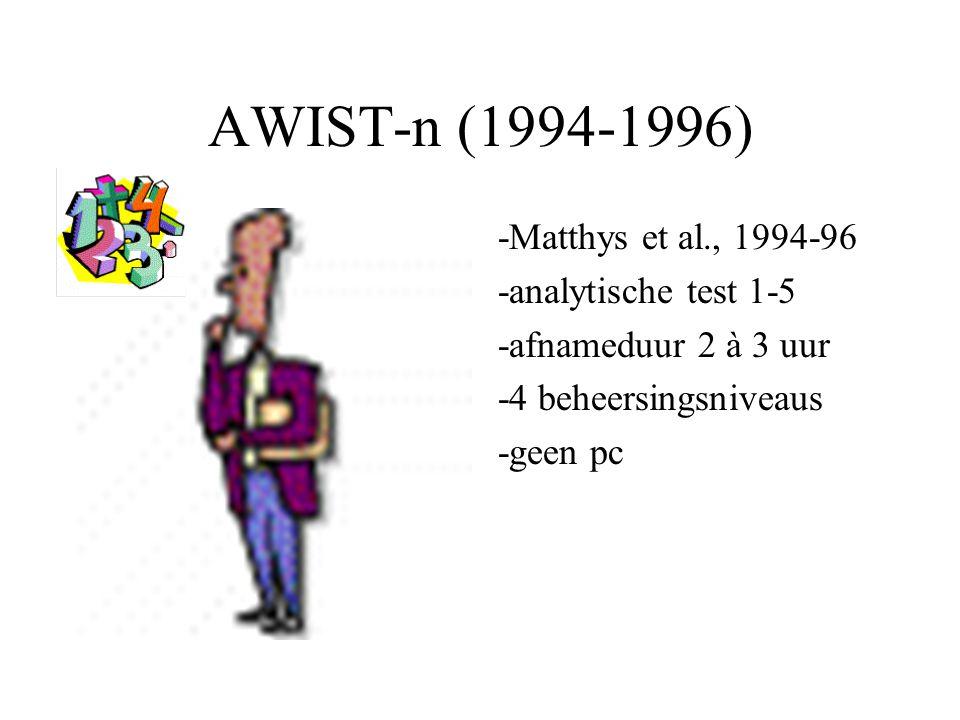 AWIST-n (1994-1996) -Matthys et al., 1994-96 -analytische test 1-5 -afnameduur 2 à 3 uur -4 beheersingsniveaus -geen pc