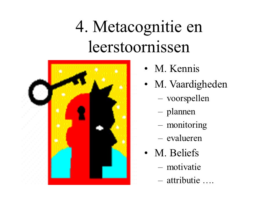 4. Metacognitie en leerstoornissen M. Kennis M. Vaardigheden –voorspellen –plannen –monitoring –evalueren M. Beliefs –motivatie –attributie ….