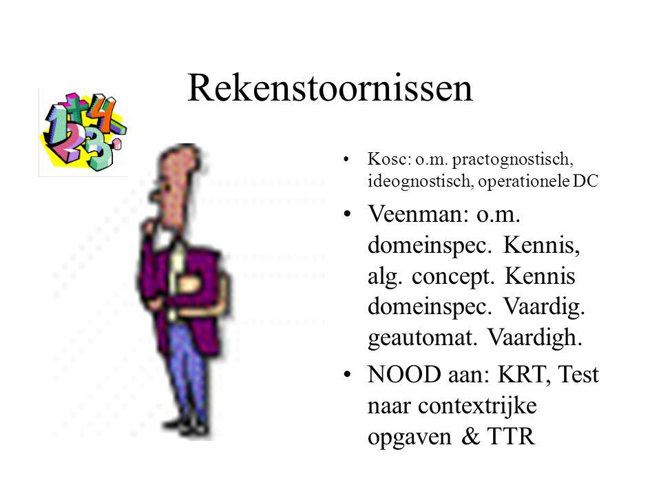 Rekenstoornissen Kosc: o.m. practognostisch, ideognostisch, operationele DC Veenman: o.m. domeinspec. Kennis, alg. concept. Kennis domeinspec. Vaardig