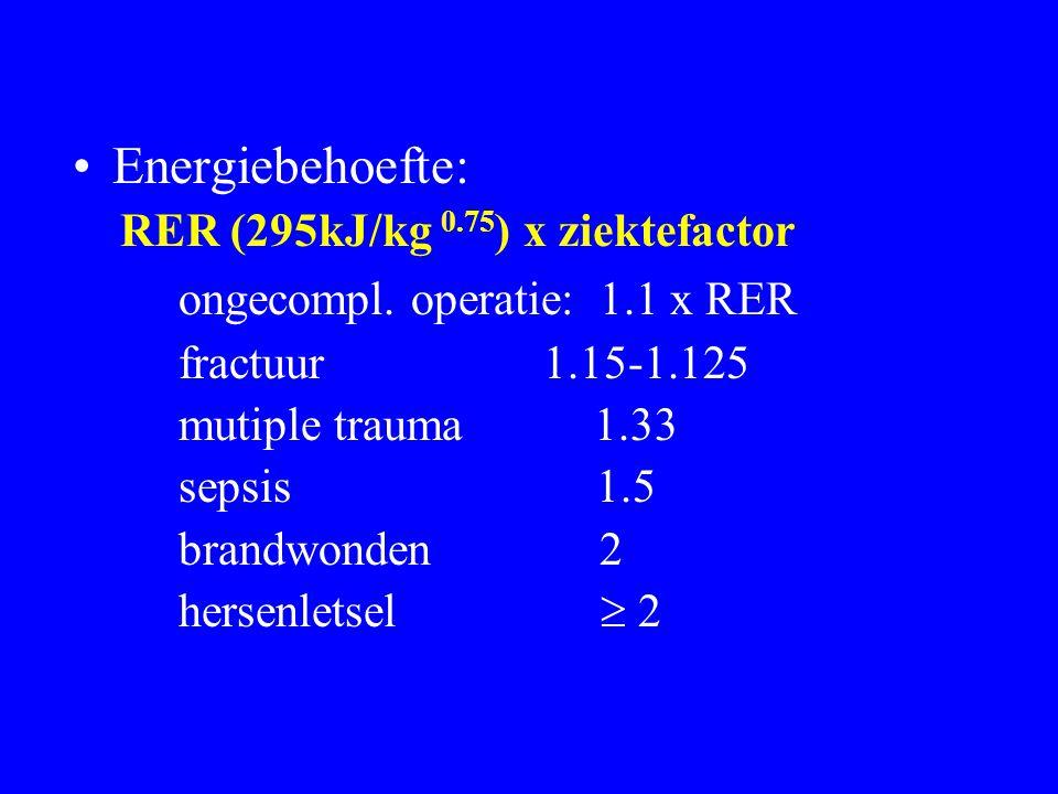 Energiebehoefte: RER (295kJ/kg 0.75 ) x ziektefactor ongecompl. operatie: 1.1 x RER fractuur 1.15-1.125 mutiple trauma 1.33 sepsis 1.5 brandwonden 2 h