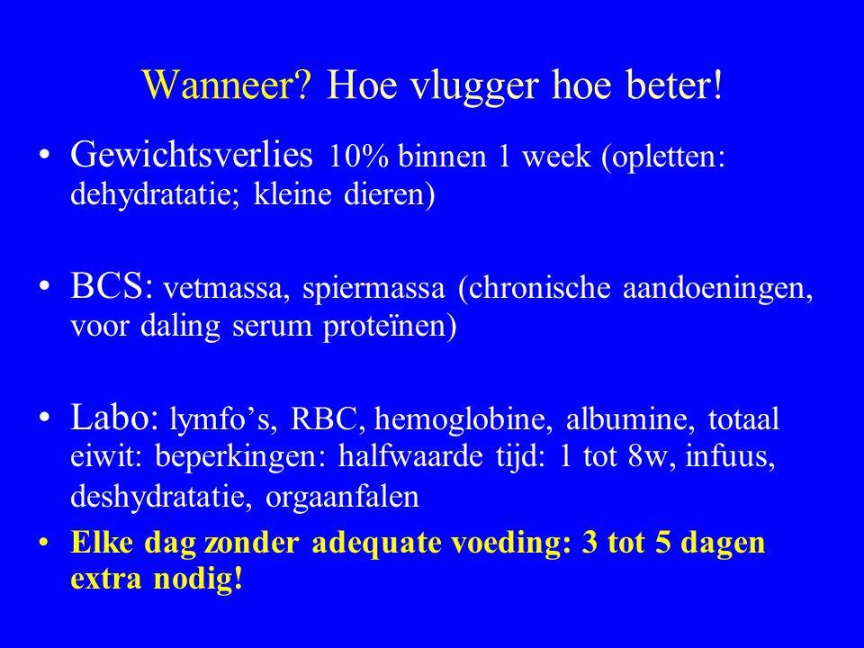 Wanneer? Hoe vlugger hoe beter! Gewichtsverlies 10% binnen 1 week (opletten: dehydratatie; kleine dieren) BCS: vetmassa, spiermassa (chronische aandoe