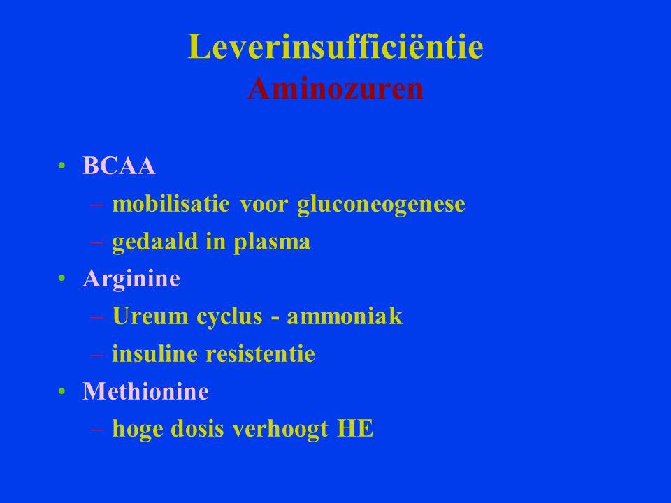 Leverinsufficiëntie Aminozuren BCAA –mobilisatie voor gluconeogenese –gedaald in plasma Arginine –Ureum cyclus - ammoniak –insuline resistentie Methio