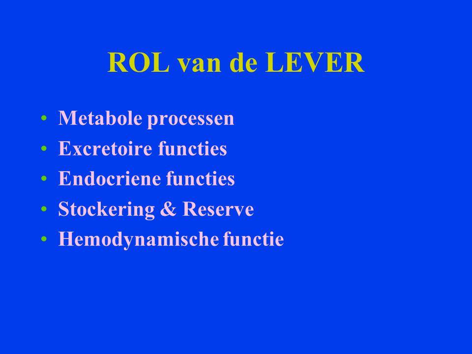 ROL van de LEVER Metabole processen Excretoire functies Endocriene functies Stockering & Reserve Hemodynamische functie