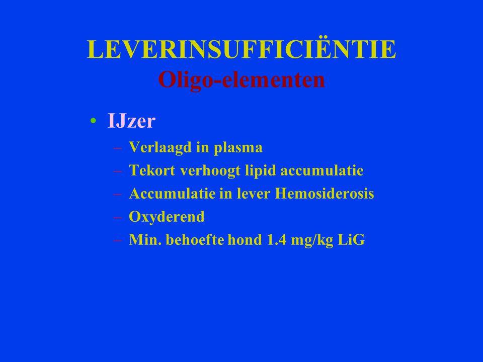 LEVERINSUFFICIËNTIE Oligo-elementen IJzer –Verlaagd in plasma –Tekort verhoogt lipid accumulatie –Accumulatie in lever Hemosiderosis –Oxyderend –Min.