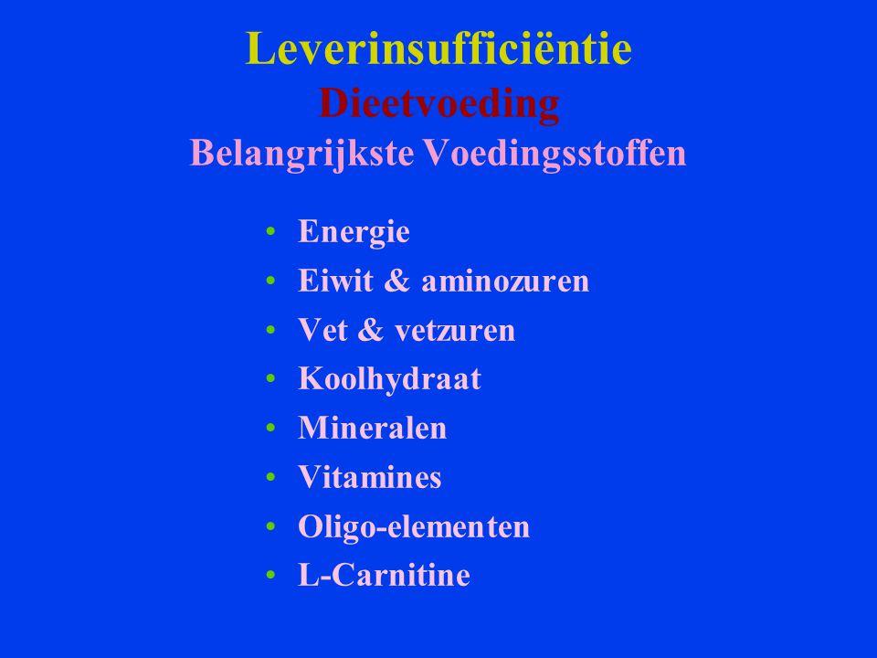 Leverinsufficiëntie Dieetvoeding Belangrijkste Voedingsstoffen Energie Eiwit & aminozuren Vet & vetzuren Koolhydraat Mineralen Vitamines Oligo-element