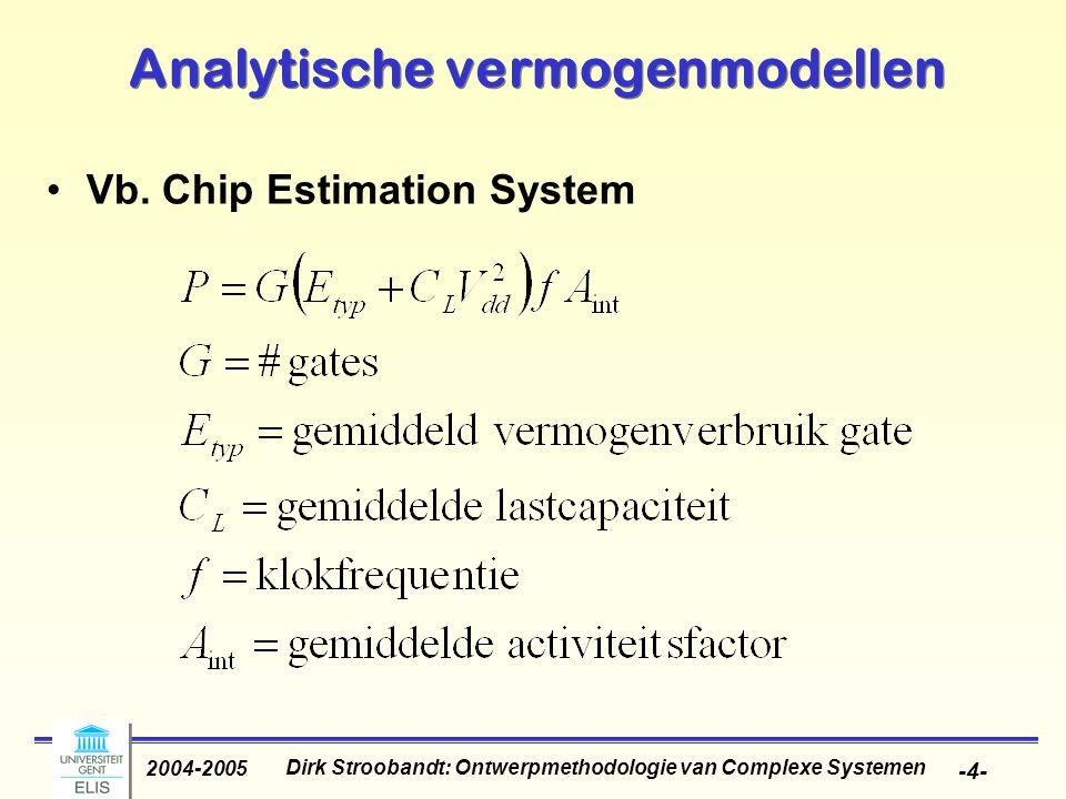 Dirk Stroobandt: Ontwerpmethodologie van Complexe Systemen 2004-2005 -4- Analytische vermogenmodellen Vb. Chip Estimation System
