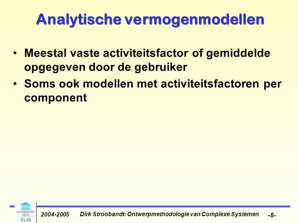 Dirk Stroobandt: Ontwerpmethodologie van Complexe Systemen 2004-2005 -9- Karakterisatiegebaseerde activiteits- en vermogenmodellen Populaire manier om vermogen te schatten: macromodel construeren door laagniveau- implementatie te karakteriseren Laagniveau schattingstool voor vermogenschatting trainingssequentie Macromodel op basis van parameters (vb statistiek van invoer- en uitvoerwaarden) Meest geschikt als componentenbibliotheek beschikbaar