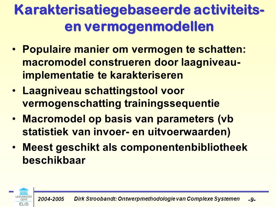 Dirk Stroobandt: Ontwerpmethodologie van Complexe Systemen 2004-2005 -9- Karakterisatiegebaseerde activiteits- en vermogenmodellen Populaire manier om