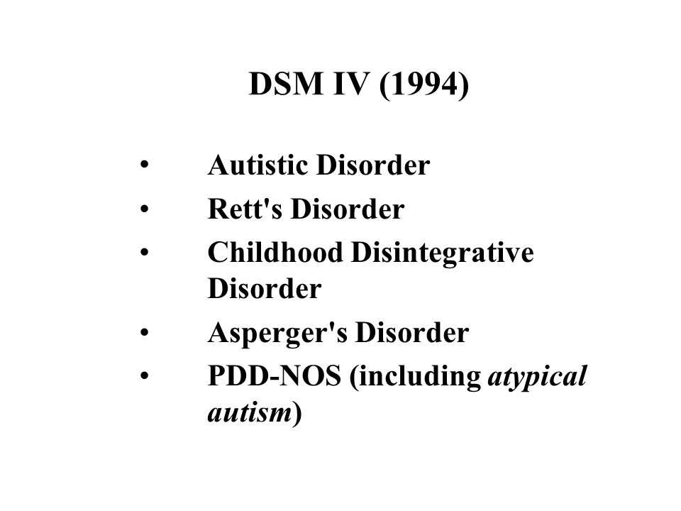 DSM IV (1994) Autistic Disorder Rett's Disorder Childhood Disintegrative Disorder Asperger's Disorder PDD-NOS (including atypical autism)
