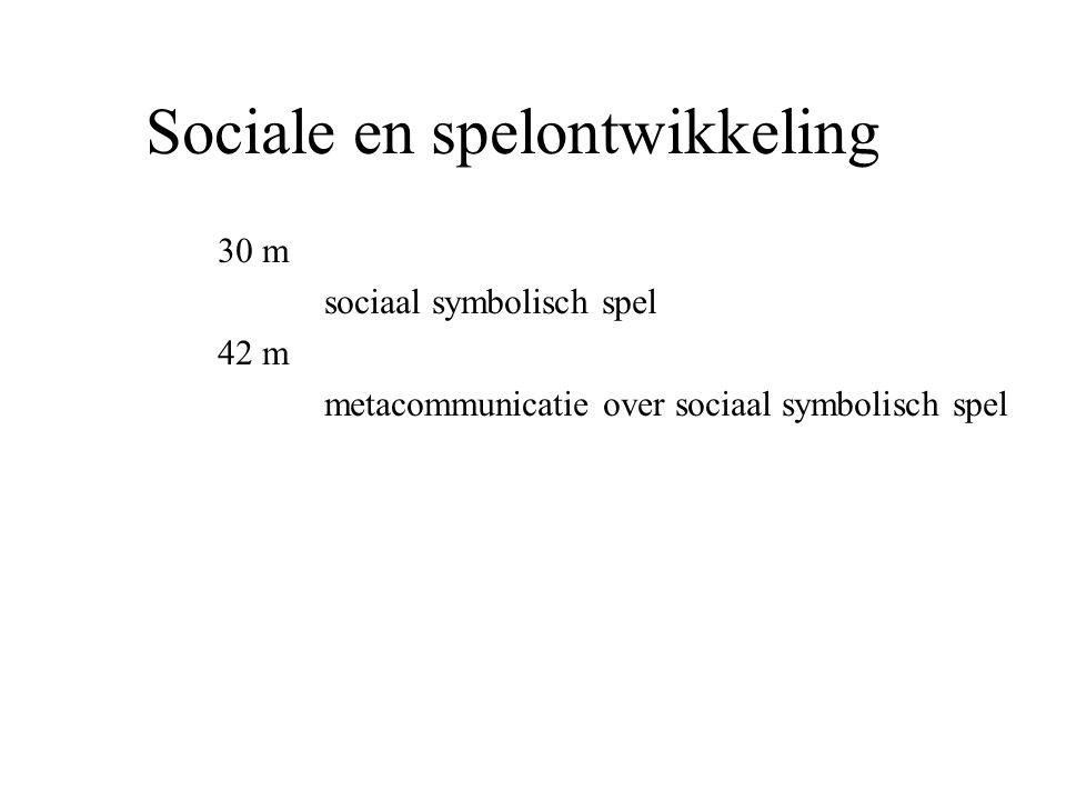 Sociale en spelontwikkeling 30 m sociaal symbolisch spel 42 m metacommunicatie over sociaal symbolisch spel