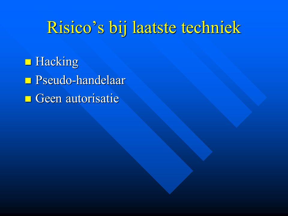 Risico's bij laatste techniek Hacking Hacking Pseudo-handelaar Pseudo-handelaar Geen autorisatie Geen autorisatie