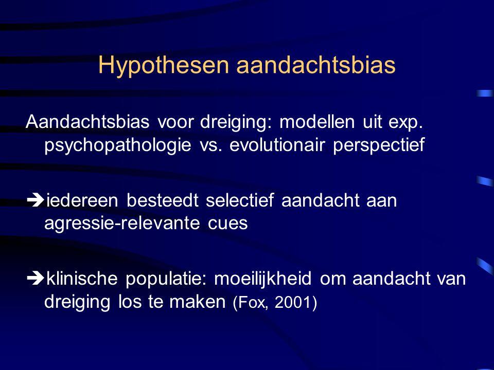 Hypothesen aandachtsbias Aandachtsbias voor dreiging: modellen uit exp. psychopathologie vs. evolutionair perspectief  iedereen besteedt selectief aa