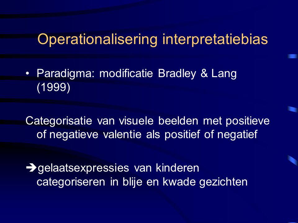 Operationalisering interpretatiebias Paradigma: modificatie Bradley & Lang (1999) Categorisatie van visuele beelden met positieve of negatieve valenti
