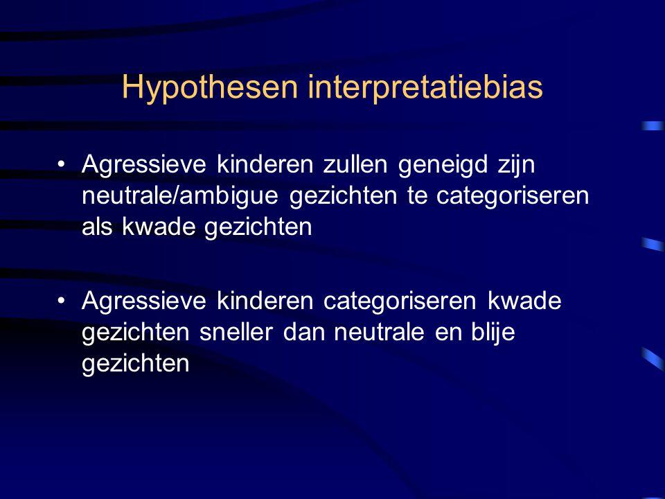 Hypothesen interpretatiebias Agressieve kinderen zullen geneigd zijn neutrale/ambigue gezichten te categoriseren als kwade gezichten Agressieve kinder