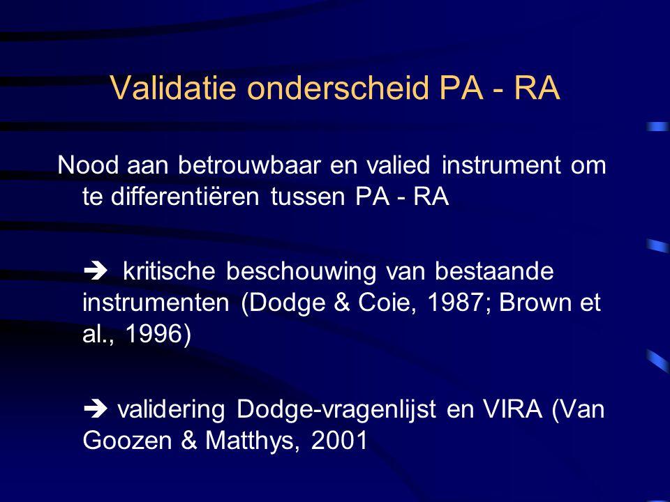 Validatie onderscheid PA - RA Nood aan betrouwbaar en valied instrument om te differentiëren tussen PA - RA  kritische beschouwing van bestaande inst