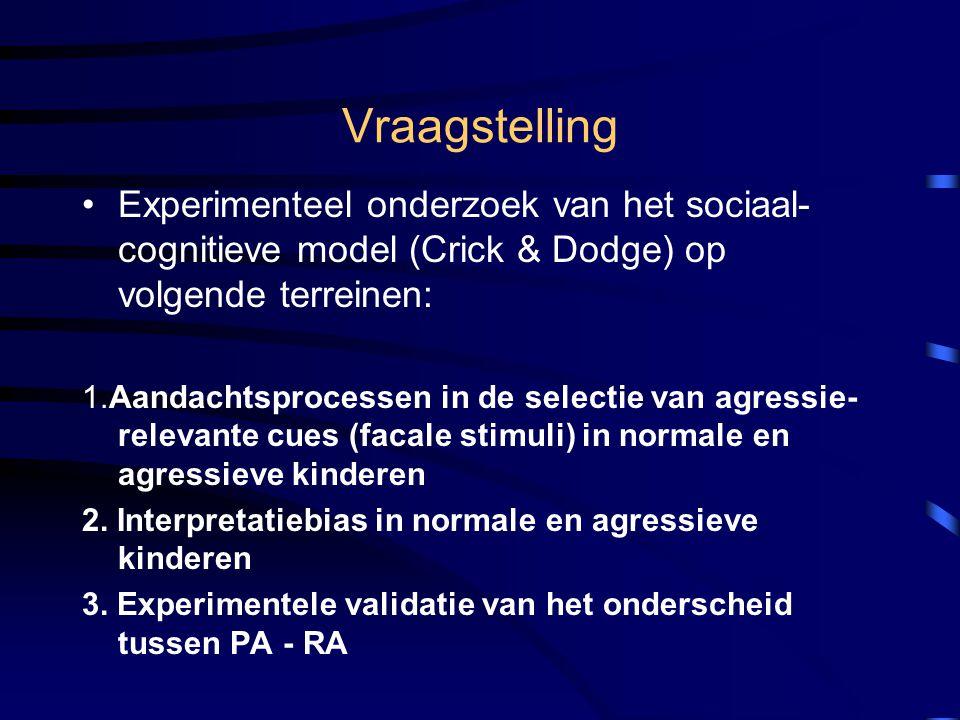 Operationalisering aandachtsbias Model Posner & Petersen (1990): 3 aandachtscomponenten –Attentional shift –Engagement –Disengagement Cueing paradigma Posner Fixatiekruiscuetarget cue = bedreigende en neutrale gezichten