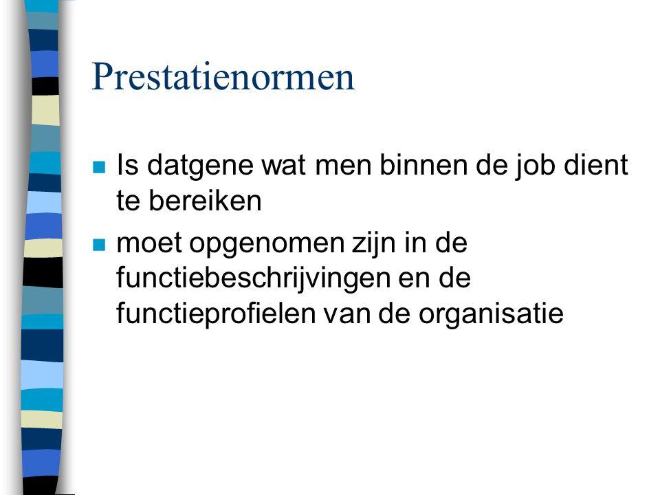 Prestatienormen n Is datgene wat men binnen de job dient te bereiken n moet opgenomen zijn in de functiebeschrijvingen en de functieprofielen van de o