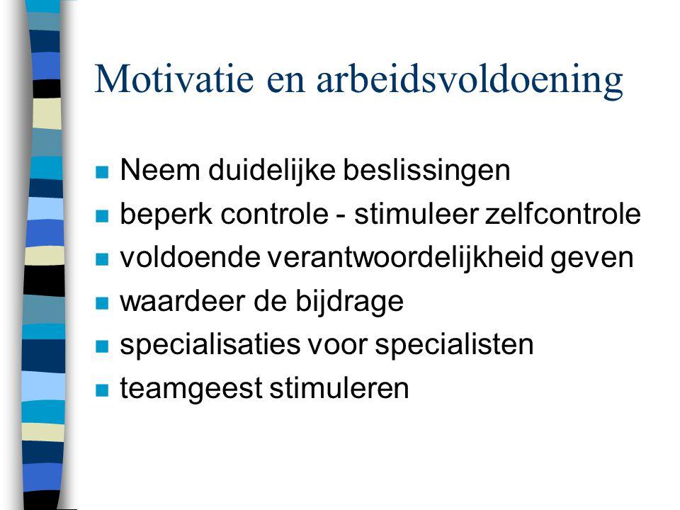Motivatie en arbeidsvoldoening n Neem duidelijke beslissingen n beperk controle - stimuleer zelfcontrole n voldoende verantwoordelijkheid geven n waar