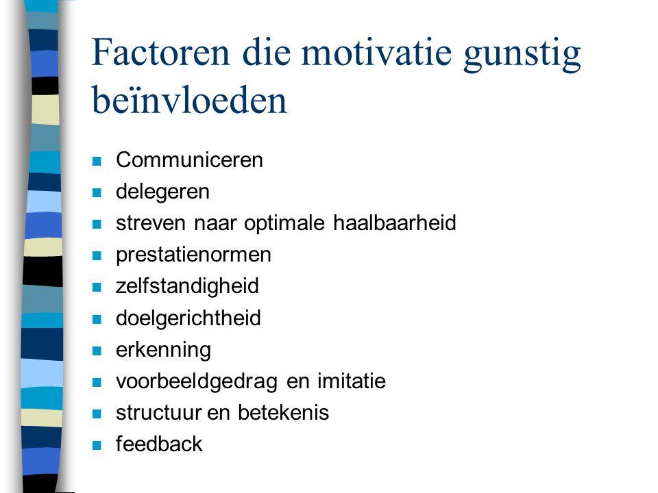 Factoren die motivatie gunstig beïnvloeden n Communiceren n delegeren n streven naar optimale haalbaarheid n prestatienormen n zelfstandigheid n doelg