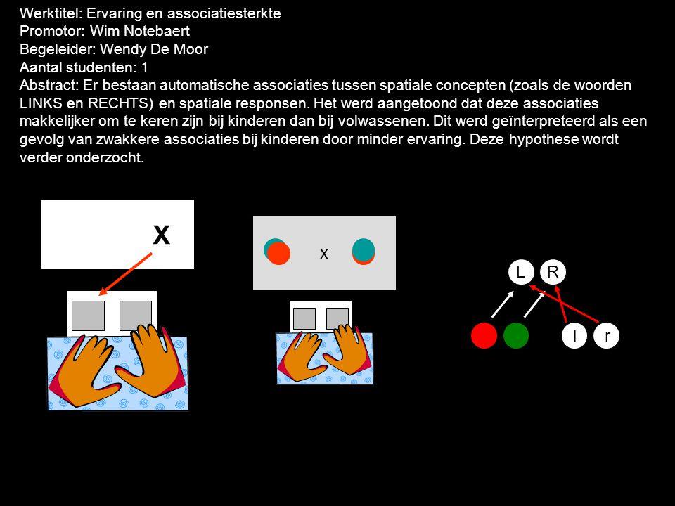 Werktitel: Ervaring en associatiesterkte Promotor: Wim Notebaert Begeleider: Wendy De Moor Aantal studenten: 1 Abstract: Er bestaan automatische associaties tussen spatiale concepten (zoals de woorden LINKS en RECHTS) en spatiale responsen.