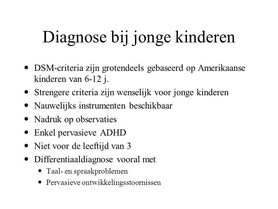 Diagnose bij jonge kinderen Ruim 60% van de kinderen die worden gediagnostiseerd rond 6 à 7 jaar hadden vroeger een diagnose kunnen krijgen 30 à 40% v