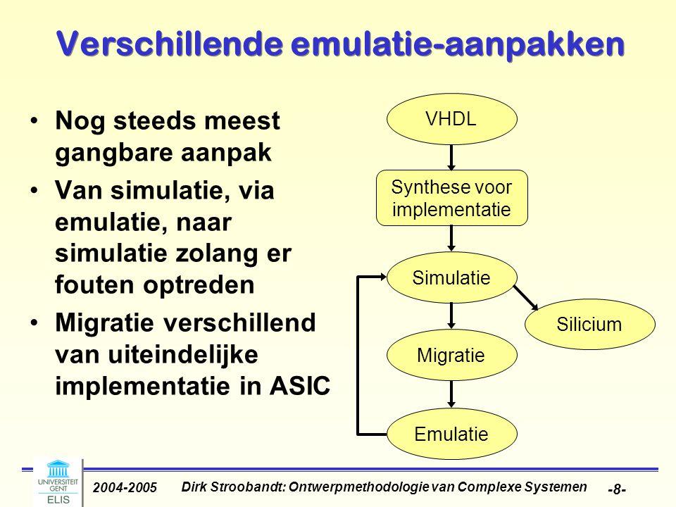 Dirk Stroobandt: Ontwerpmethodologie van Complexe Systemen 2004-2005 -8- Verschillende emulatie-aanpakken Nog steeds meest gangbare aanpak Van simulatie, via emulatie, naar simulatie zolang er fouten optreden Migratie verschillend van uiteindelijke implementatie in ASIC Synthese voor implementatie VHDL Simulatie Migratie Silicium Emulatie