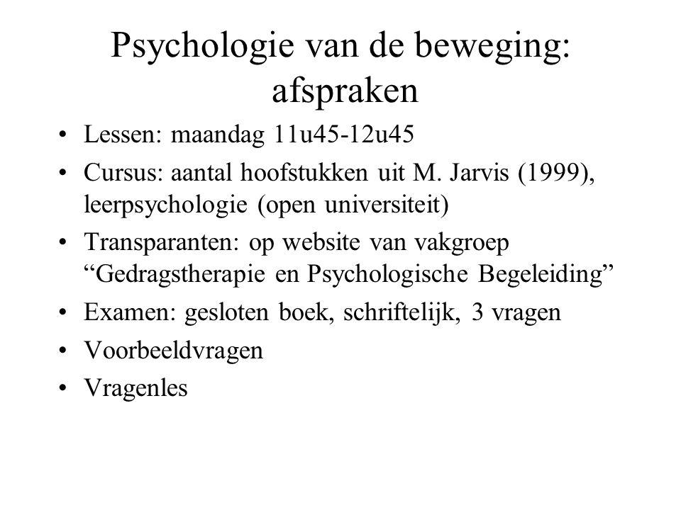 Psychologie van de beweging: afspraken Lessen: maandag 11u45-12u45 Cursus: aantal hoofstukken uit M. Jarvis (1999), leerpsychologie (open universiteit