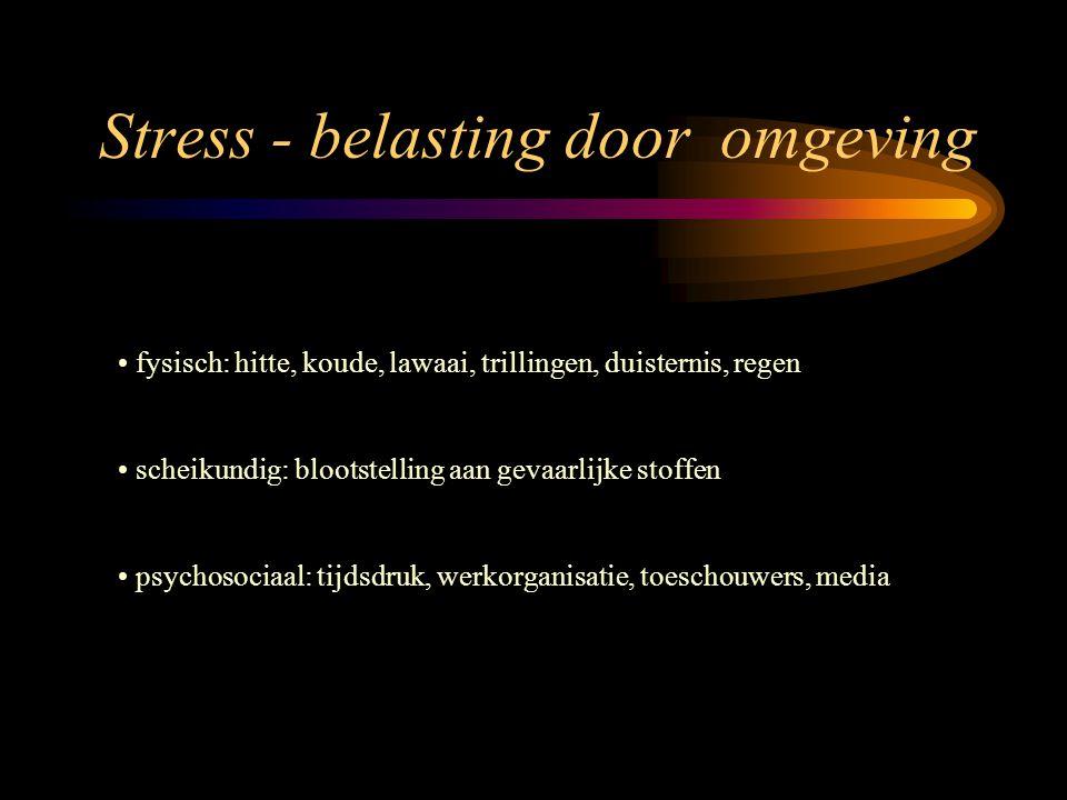 Stress - belasting door de activiteit lichamelijk: spierarbeid geeft belasting van ademhaling en bloedsomloop geestelijk: opnemen en verwerken van informatie, nemen van beslissingen