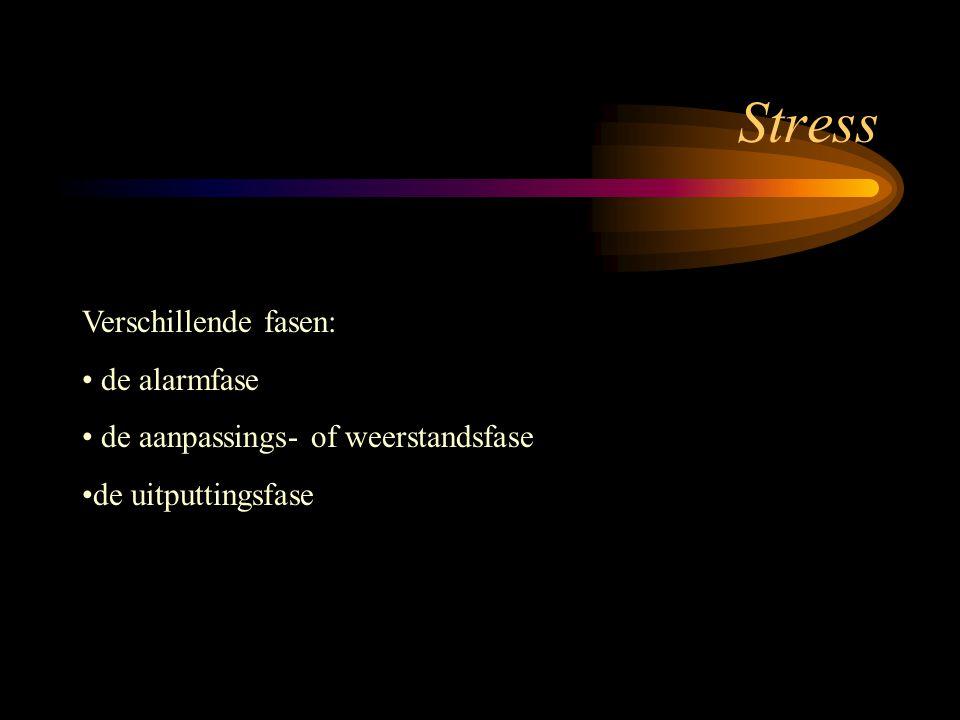 Stress Verschillende fasen: de alarmfase de aanpassings- of weerstandsfase de uitputtingsfase