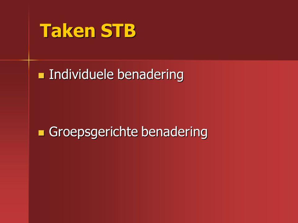 Taken STB Taken STB Individuele benadering Individuele benadering Groepsgerichte benadering Groepsgerichte benadering