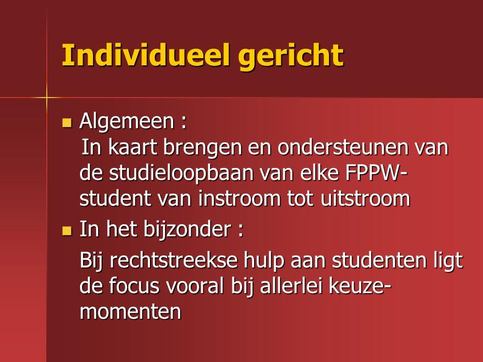 Individueel gericht Algemeen : Algemeen : In kaart brengen en ondersteunen van de studieloopbaan van elke FPPW- student van instroom tot uitstroom In