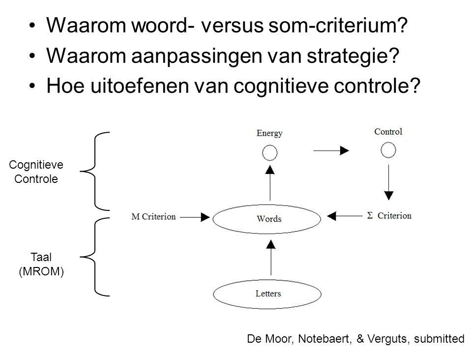 Waarom woord- versus som-criterium? Waarom aanpassingen van strategie? Hoe uitoefenen van cognitieve controle? De Moor, Notebaert, & Verguts, submitte