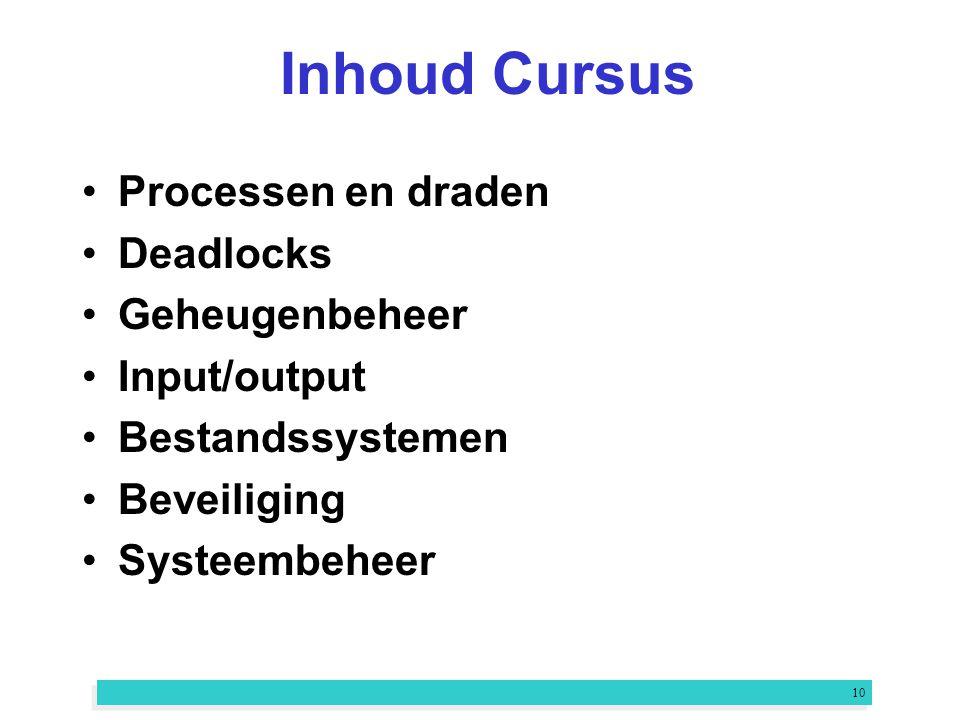 10 Inhoud Cursus Processen en draden Deadlocks Geheugenbeheer Input/output Bestandssystemen Beveiliging Systeembeheer
