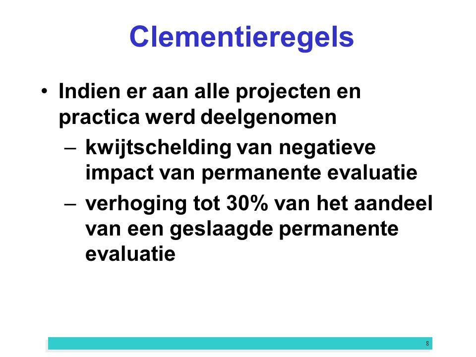 8 Clementieregels Indien er aan alle projecten en practica werd deelgenomen –kwijtschelding van negatieve impact van permanente evaluatie –verhoging tot 30% van het aandeel van een geslaagde permanente evaluatie