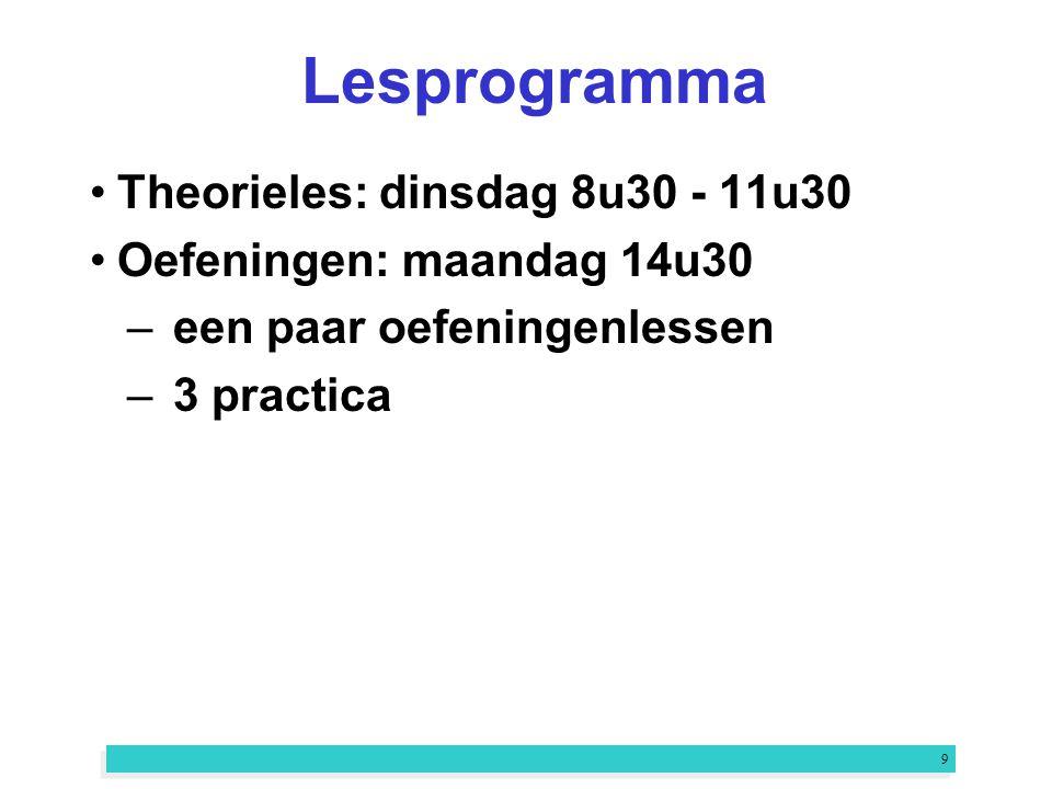9 Lesprogramma Theorieles: dinsdag 8u30 - 11u30 Oefeningen: maandag 14u30 –een paar oefeningenlessen –3 practica
