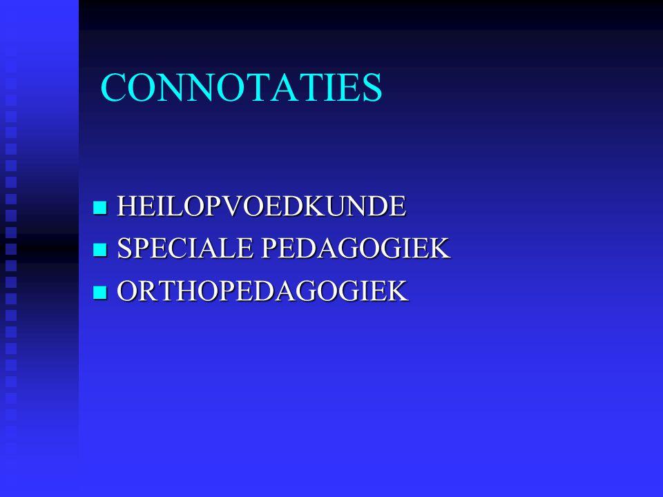 CONNOTATIES HEILOPVOEDKUNDE HEILOPVOEDKUNDE SPECIALE PEDAGOGIEK SPECIALE PEDAGOGIEK ORTHOPEDAGOGIEK ORTHOPEDAGOGIEK