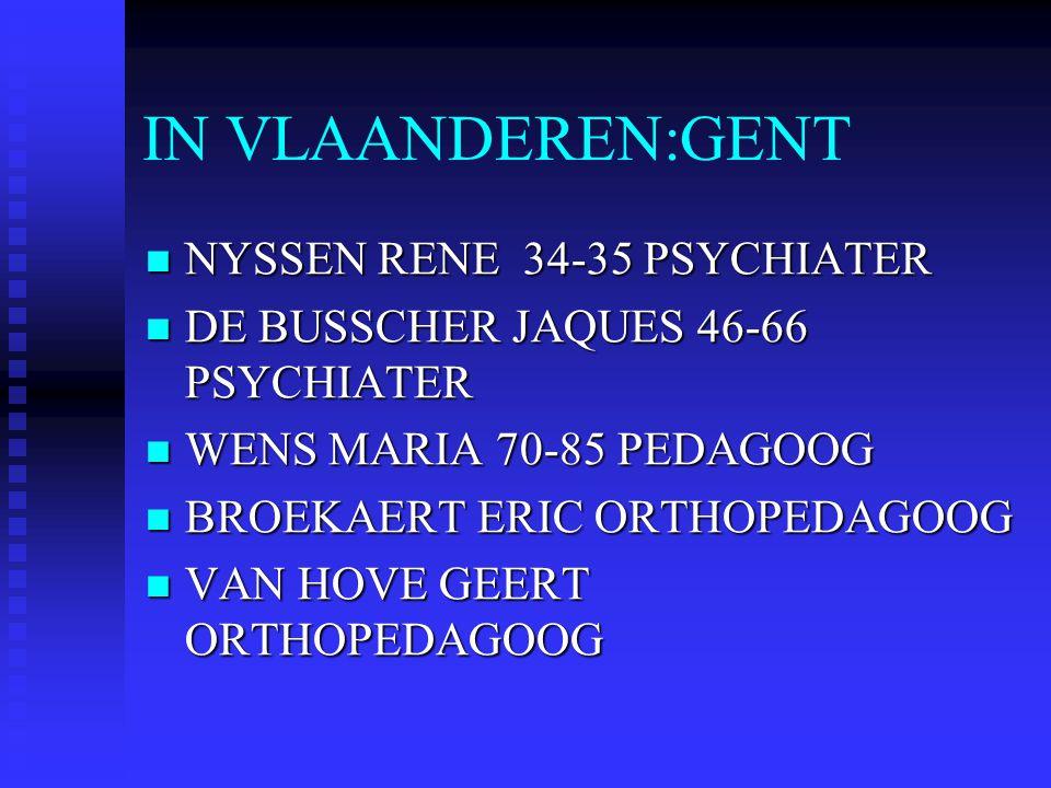 IN VLAANDEREN:GENT NYSSEN RENE 34-35 PSYCHIATER NYSSEN RENE 34-35 PSYCHIATER DE BUSSCHER JAQUES 46-66 PSYCHIATER DE BUSSCHER JAQUES 46-66 PSYCHIATER W
