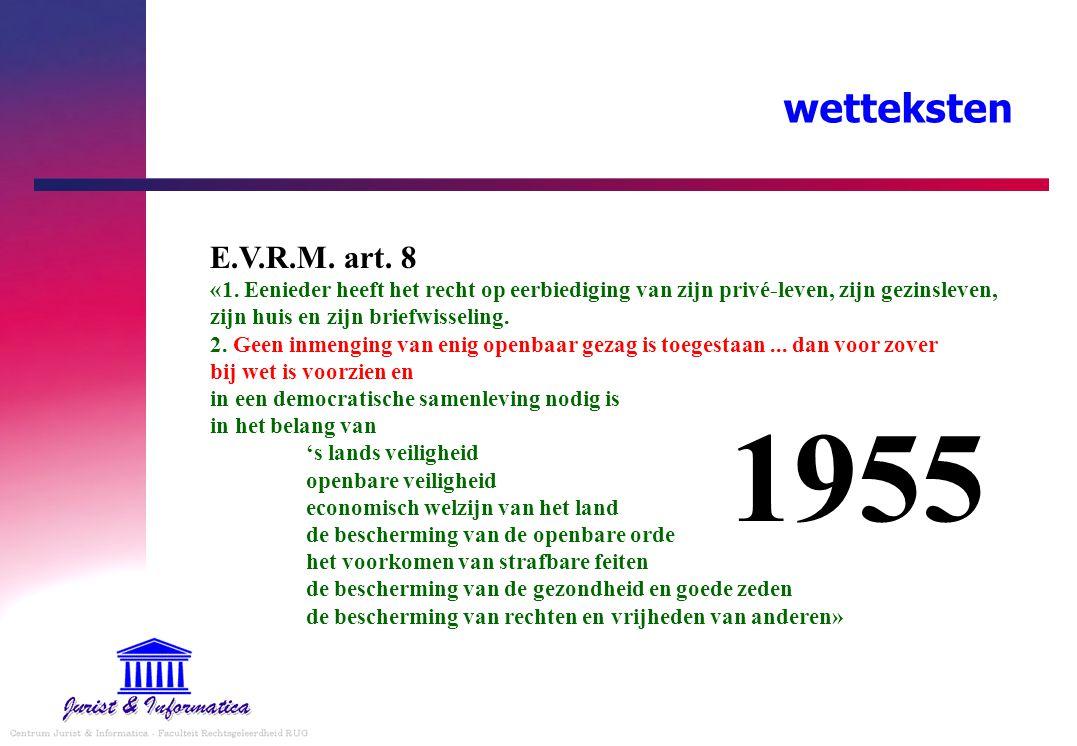 wetteksten E.V.R.M. art. 8 «1. Eenieder heeft het recht op eerbiediging van zijn privé-leven, zijn gezinsleven, zijn huis en zijn briefwisseling. 2. G