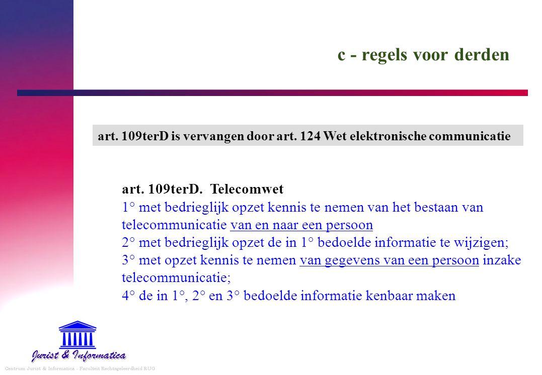 c - regels voor derden art. 109terD. Telecomwet 1° met bedrieglijk opzet kennis te nemen van het bestaan van telecommunicatie van en naar een persoon