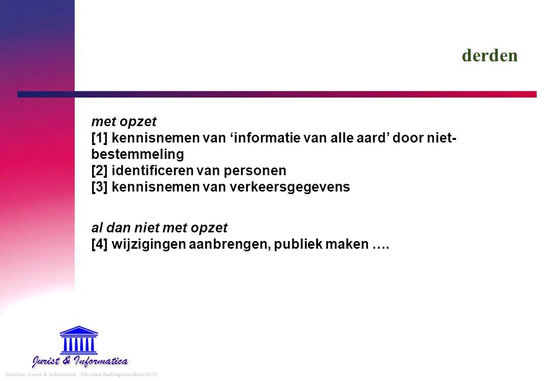 derden met opzet [1] kennisnemen van 'informatie van alle aard' door niet- bestemmeling [2] identificeren van personen [3] kennisnemen van verkeersgeg