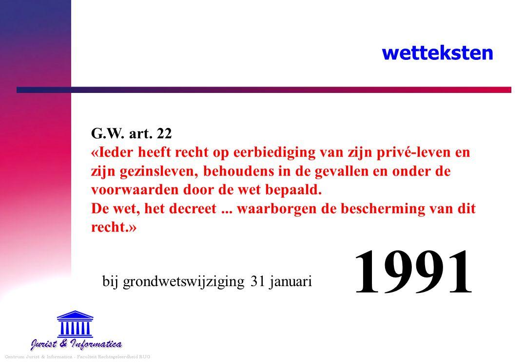wetteksten G.W. art. 22 «Ieder heeft recht op eerbiediging van zijn privé-leven en zijn gezinsleven, behoudens in de gevallen en onder de voorwaarden